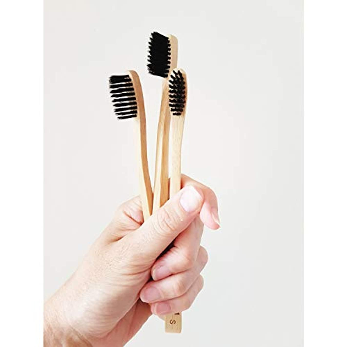 排他的壊れたこのLadybug 竹の歯ブラシ 竹炭毛 バンブー歯ブラシ (3本入りセット)