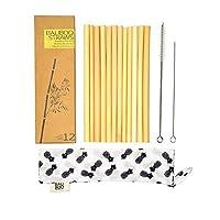 エコフレンドリーで再利用可能な竹製ストロー1本パック オーガニックで手作り ハーフプラスチックストロークリーナーの代わりに使えます