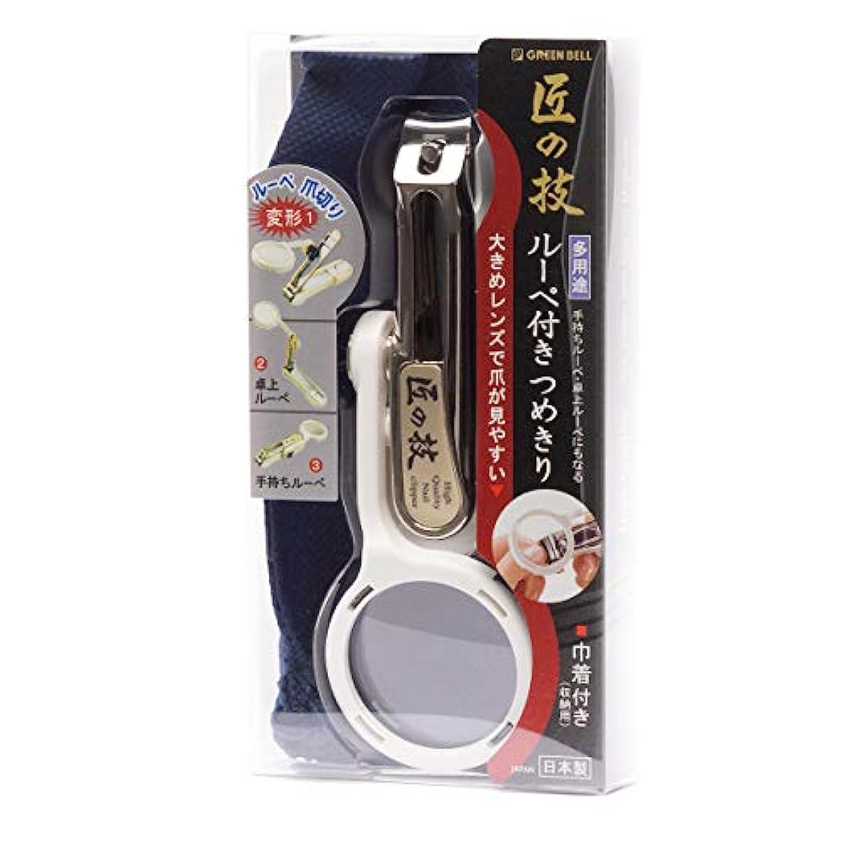 プロットスローおかしいMIDI-ミディ 匠の技 ルーペ付き つめきり 白 メガネ拭き セット (p-880122,p-k0055)