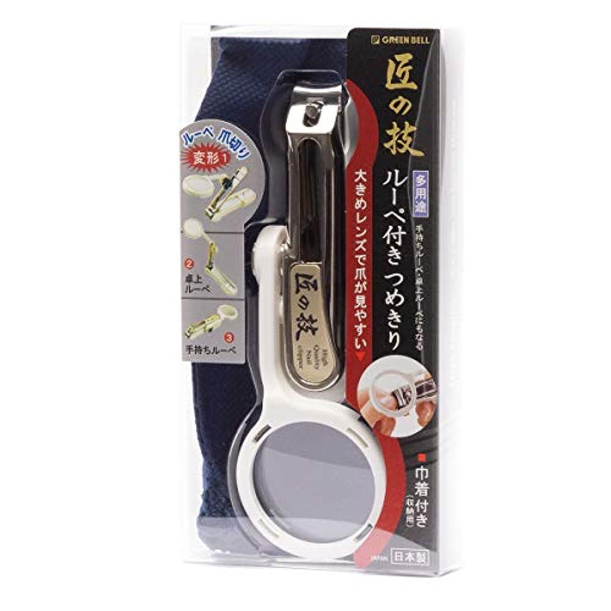 九時四十五分シティ先にMIDI-ミディ 匠の技 ルーペ付き つめきり 白 メガネ拭き セット (p-880122,p-k0055)