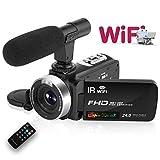 ビデオカメラ デジタルカメラ 支持16倍ズーム1080P 30FPS ミニカムコーダー リモコン Wi-Fi 赤外線ナイトビジョン 夜間撮影 デジタルカメラ 3インチ LCD液晶タッチスクリーン ビデオメラ