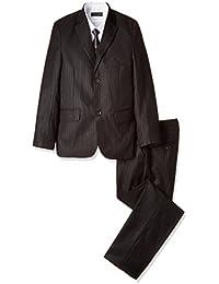 (ミガロ) MIGARO 卒業式スーツ 男の子/子供フォーマルスーツ (ブラック?シャドウストライプ/3つボタン) 5点セット (スリーピース+白カッター+ネクタイ)