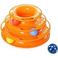 【ハンズワン】猫 おもちゃ ぐるぐる 鈴ボール付き 運動不足 ストレス ペット用品 (オレンジ)お手頃価格!