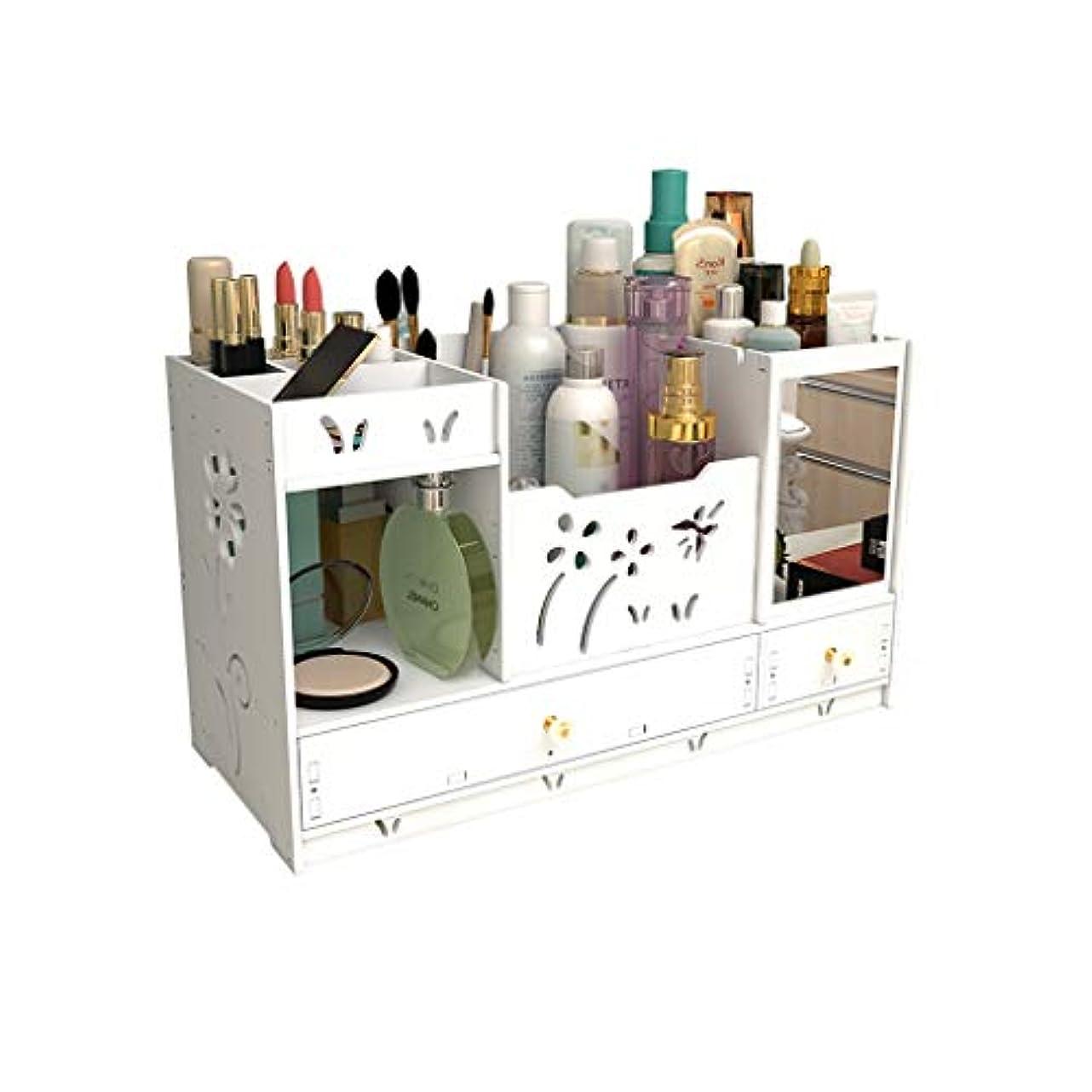 パーチナシティ夜間競争ミラーの収納ラックが付いているデスクトップの化粧品の収納箱の化粧台