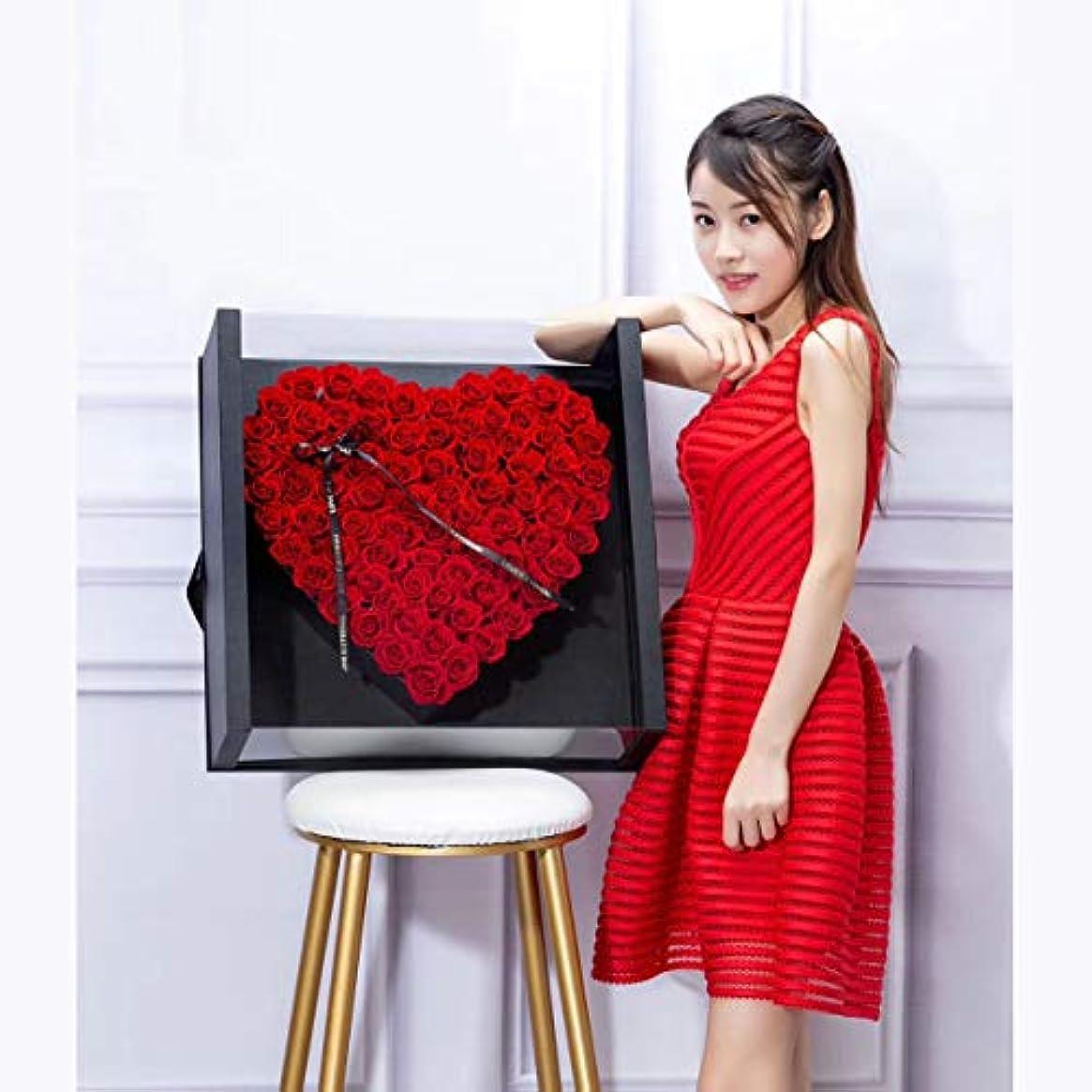 ヒュームぞっとするような超高層ビルローズボックス - - 手作りのロングラスティングの花 - ボックスハート型の本当のプリザーブドフラワーバラ彼女の誕生日、記念日、バレンタインデーのための高級ギフトを(レッド),E,mattegold*4