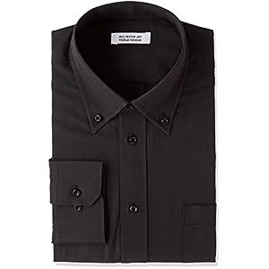 (アトリエサンロクゴ)atelier365 紺ワイシャツ 黒ワイシャツ 長袖ワイシャツ メンズ ワイシャツ Yシャツ ドレスシャツ ワイシャツ 無地 ワイシャツ カッターシャツ 制服 y9-7-9-1 y9-7-9-1-M-39-82-black-bd ブラック-ボタンダウン M