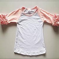 Nobrand 1-8years Girl Ruffle Capris Pink Knit Boutique Capris Leggings Girls Capris Pants Ruffle Knee-Length Leggings