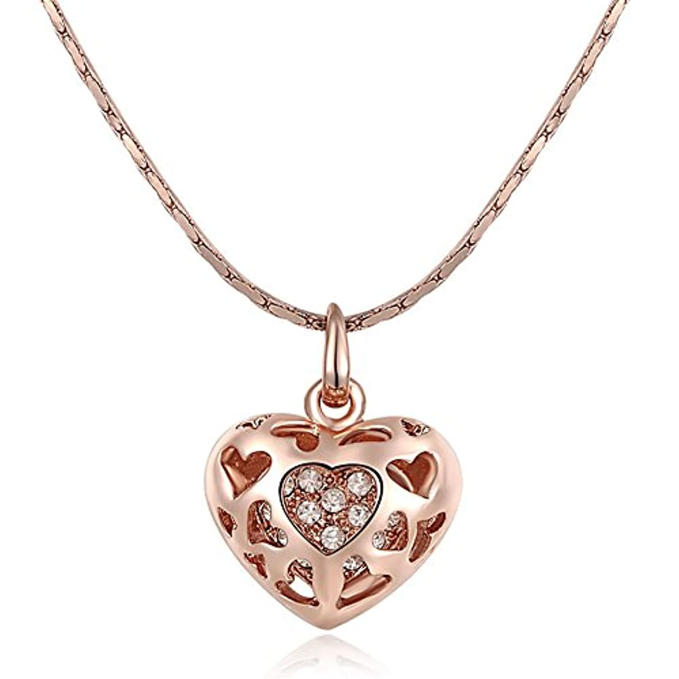 感動する彼は葉可愛い ネックレス 水晶の薔薇の金の型はハート型のネックレス バレンタインデーのプレゼント