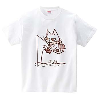 釣りをする猫(Tシャツ・ホワイト)(Sサイズ) (イチ)