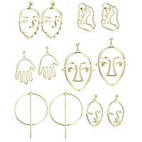 Thunaraz 6Pairs Face Earring Set Geometric Modeling Dangle Hollow Face Hand Shape Drop Earring for Women Teens Girls