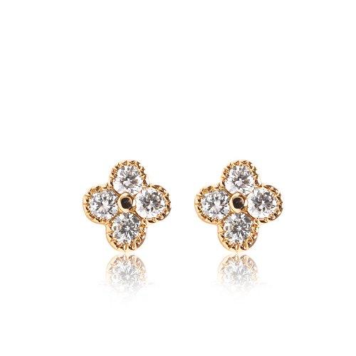 (オレフィーチェ)Orefice 「ミニピコ・クローバー」ピアス K18イエローゴールド×ダイヤモンド計0.05ct(ペア0.1ct)