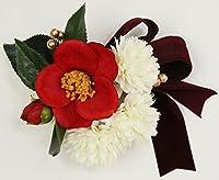 コサージュ 椿 髪飾り コーム リボン ボルドー ヘアアクセサリー 298-202b