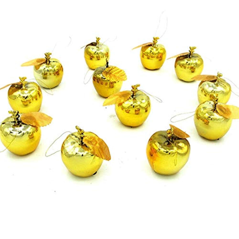クリスマス オーナメント リンゴ アップル ボール 12個入り 結婚式 クリスマス ツリー 飾り 雑貨 (ゴールド)