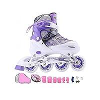 Ailj インラインスケート、 大人のスケート靴 ユニセックス 子 調整可能ローラースケート コンプリートセット と フルフラッシュ オーロラホイール(ホワイトパープル) (色 : A, サイズ さいず : L (39-42 yards))