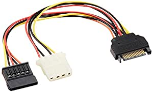 AINEX シリアルATA用二股電源ケーブル [ 15cm ] S2-1506SAB