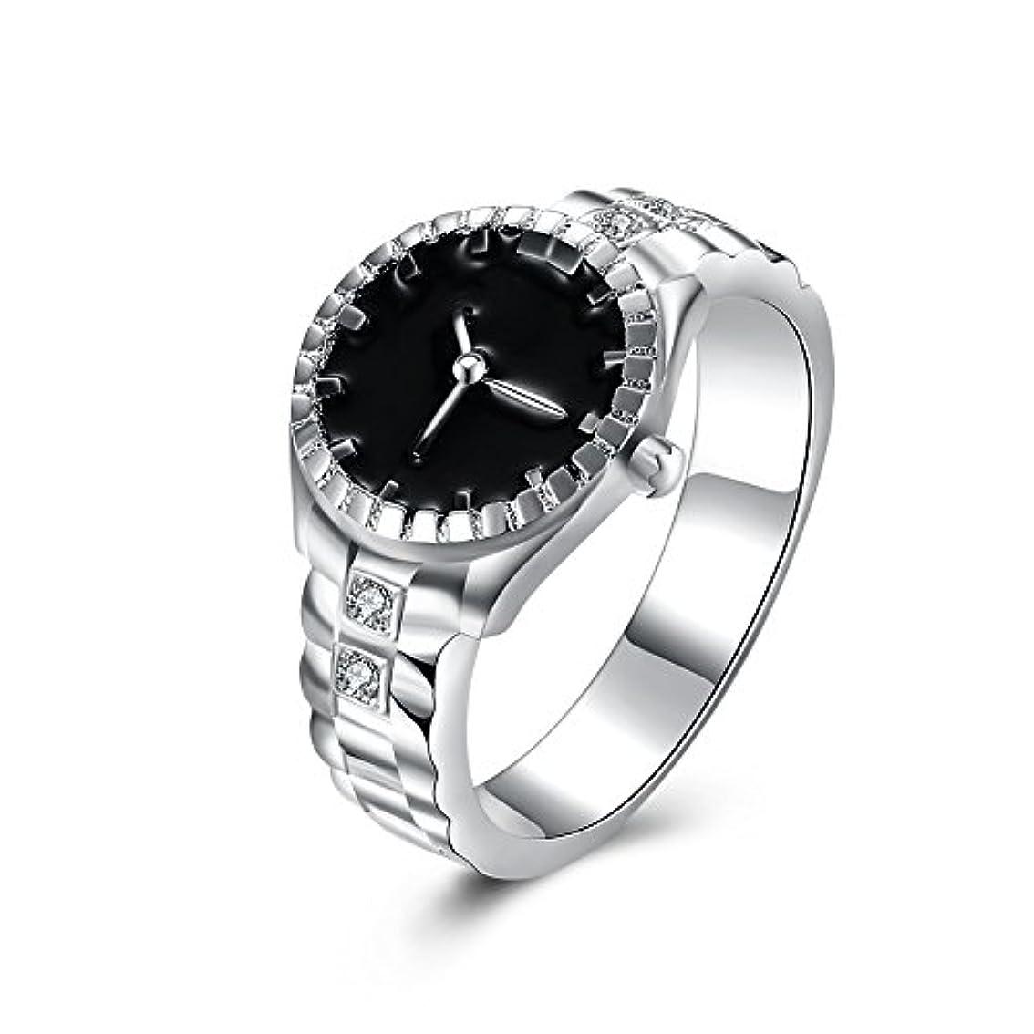 メンダシティ貪欲説明的925スターリングシルバーメッキ時計型ダイヤモンドリングファッションジュエリー周年記念ギフト (マルチカラー)