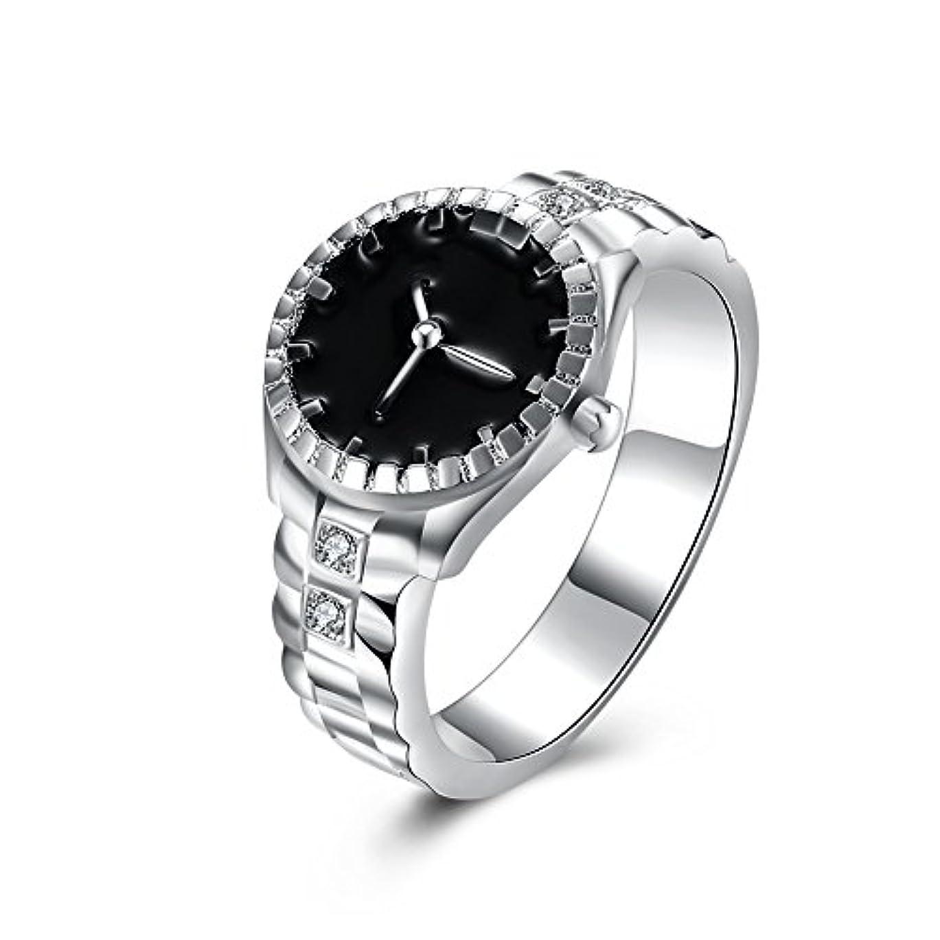 水銀の起業家購入925スターリングシルバーメッキ時計型ダイヤモンドリングファッションジュエリー周年記念ギフト (マルチカラー)
