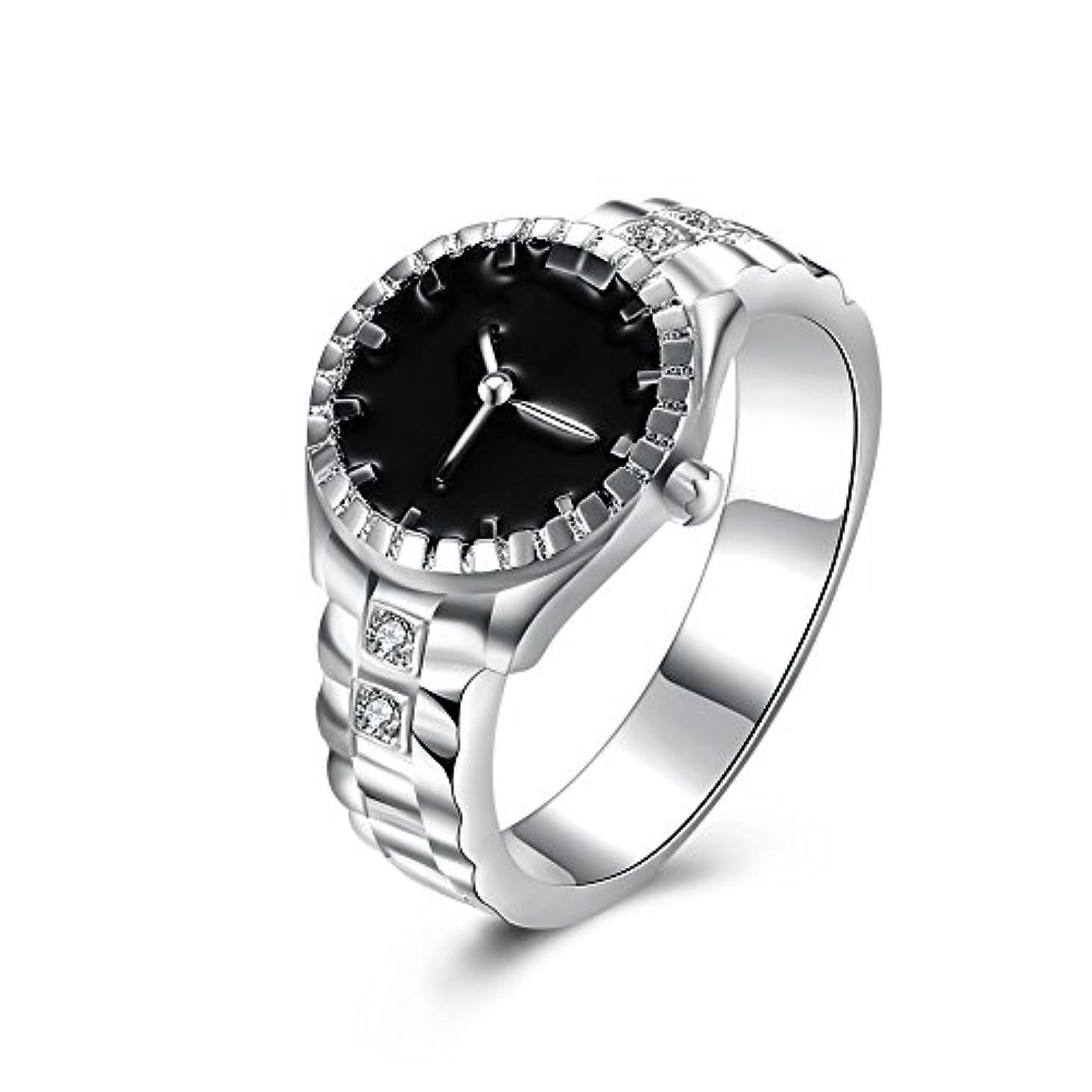 なんでも森異常な925スターリングシルバーメッキ時計型ダイヤモンドリングファッションジュエリー周年記念ギフト (マルチカラー)