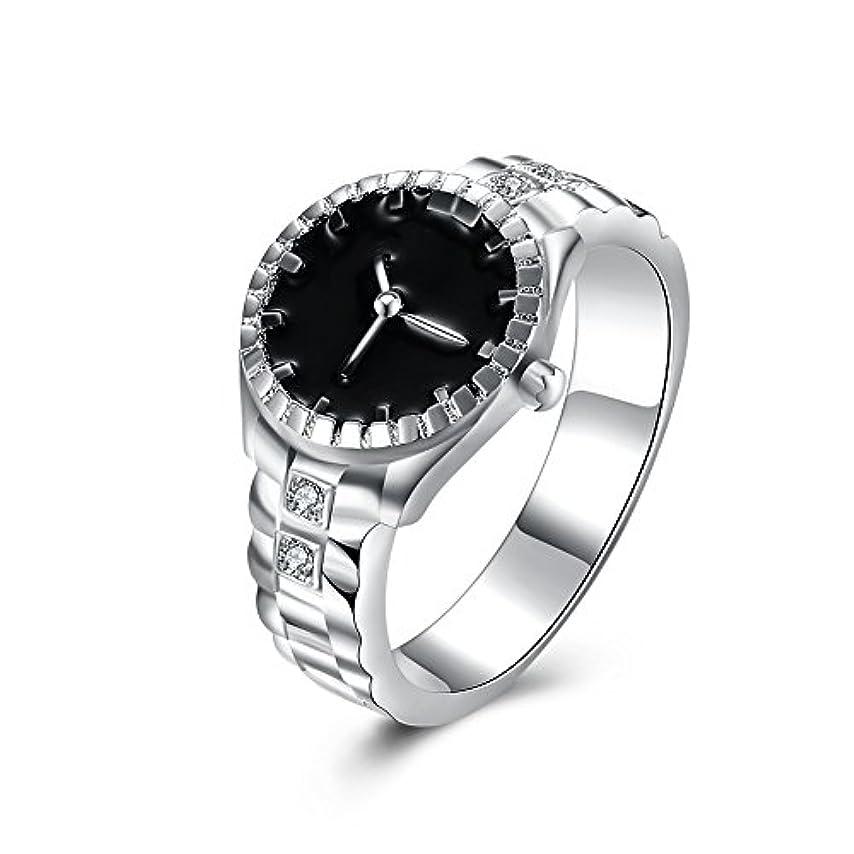 見ました光沢のある穀物925スターリングシルバーメッキ時計型ダイヤモンドリングファッションジュエリー周年記念ギフト (マルチカラー)