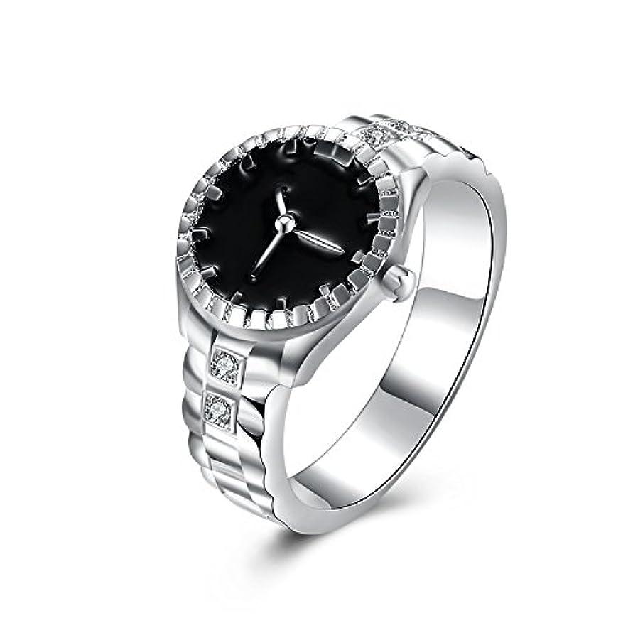 幾何学明快ピクニック925スターリングシルバーメッキ時計型ダイヤモンドリングファッションジュエリー周年記念ギフト (マルチカラー)