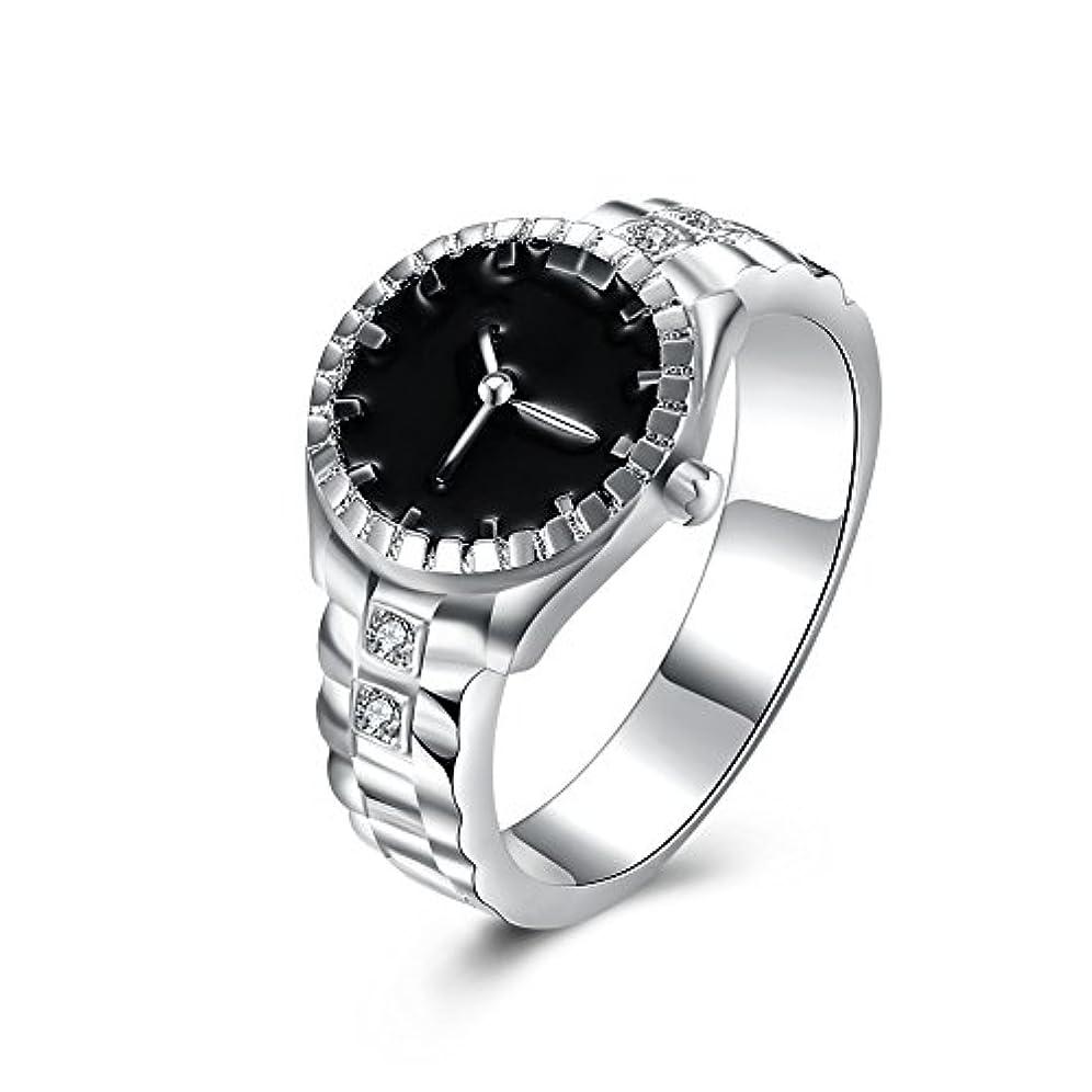 戸口役職威する925スターリングシルバーメッキ時計型ダイヤモンドリングファッションジュエリー周年記念ギフト (マルチカラー)