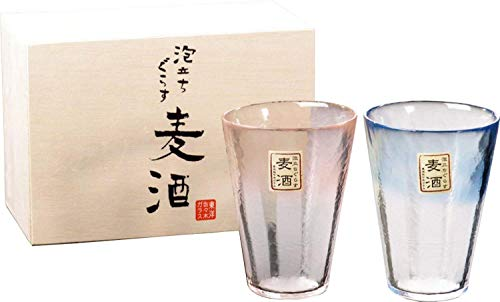 東洋佐々木ガラス ペアビールグラス ブルー&ピンク 300ml 泡立ちぐらす ビールギフト 日本製 ...