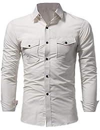 Fly Year-JP メンズクラシックフィット立体ロングスリーブカジュアルボタンダウンドレスシャツ