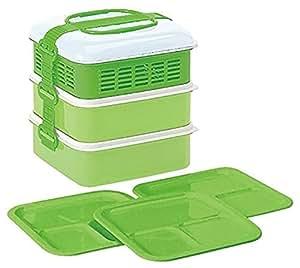 サンコープラスチック ピクニックランチボックス リオパック 3段 取り皿3枚付き グリーン