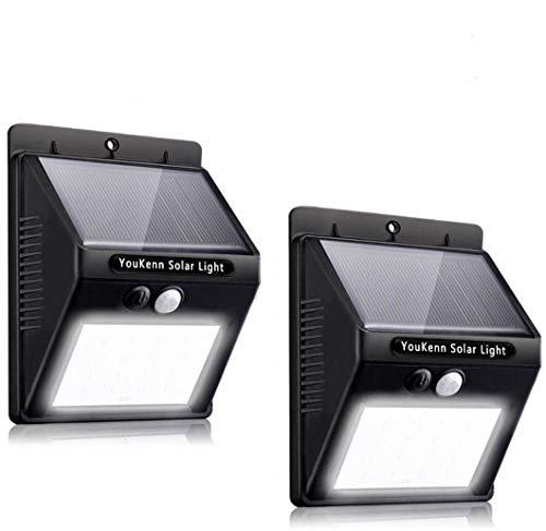 【改良版】YouKennソーラーライト 人感センサーライト 3つ知能モード 高輝度20LED 両面テープ付 防犯ライ ト ボタン付き 太陽発電 屋外照明 夜間自動点灯 2個セット