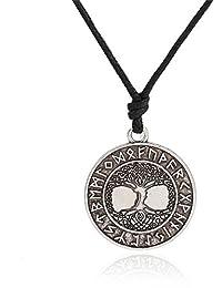 Nordic Vikings Runes Amulet the Tree of LifeルーンVikingネックレスPagan Talisman
