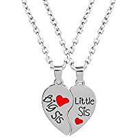 Luvalti Split Heart Pendant Necklaces - Set of 2 Big Sis Little Sis Necklaces Jewelry