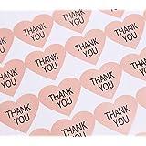 GANSSIA 付箋 ハート形 THANK YOU サンキュータグ 320枚入り 35×38mm 印刷文字 封筒シール ラベル 菓子屋 贈り物 結婚式 パーティー ギフトメッセージカード ピンク