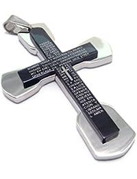 [テメゴ ジュエリー]TEMEGO Jewelry メンズステンレススチールヴィンテージペンダントゴシッククロス主の祈りネックレス、ブラックシルバー[インポート]