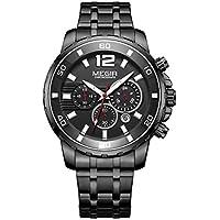 Megir Men's Gold Stainless Steel Quartz Watches Business Chronograph Analgue Wristwatch for Man Waterproof Luminous
