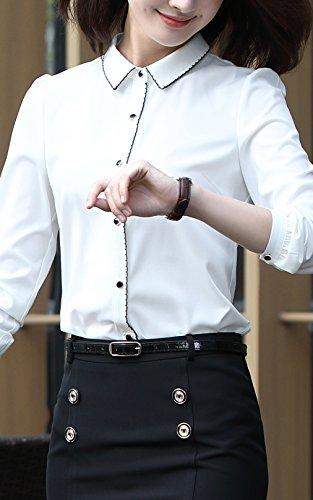 激情女郎 ワイシャツ レディース ブラウス 長袖シャツ オフィス 白 無地 XL