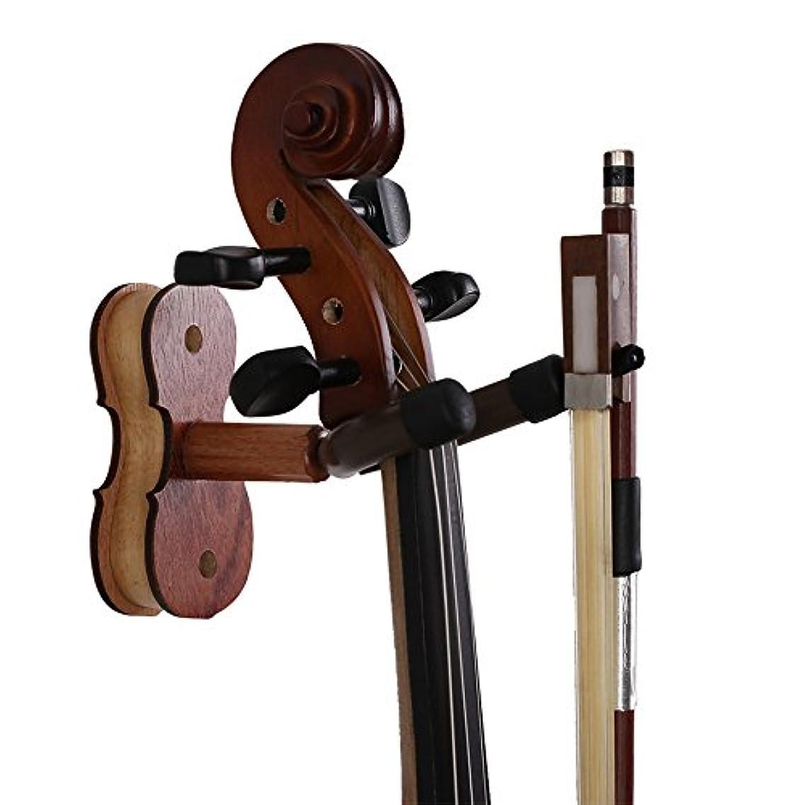 教えてコテージ不足NUZAMASヴァイオリンハンガー、ホルダー、ヴァイオリンフック、ボウハンガーウォールマウントハードウッド、ホーム&スタジオ用