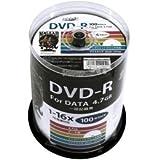 【3個セット】HI DISC DVD-R 4.7GB 100枚スピンドル 1~16倍速対応 ワイドプリンタブル HDDR47JNP100