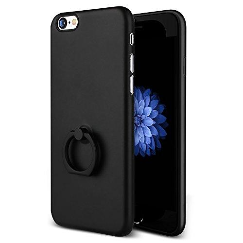 【 a-mumu 】 iPhone6s ケース iPhone6 ケース [ 0.4mm超薄 超軽量 高級感 手触り良い 落下防止 バンカーリング ] アイフォン6sケース / アイフォン6 4.7インチ スマホリング カバー ブラック