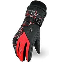 スノボー グローブ スキー 手袋 登山 手袋 防寒グローブ 防水 防寒 保温 通気性 サイズ選択可(赤 L)