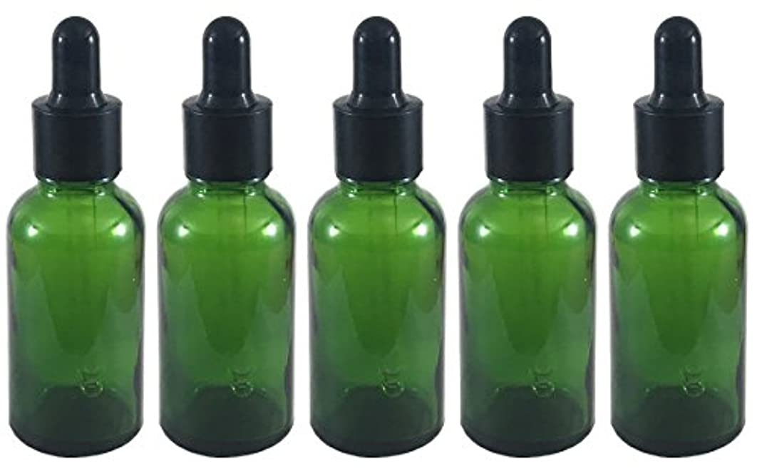 ガレージ天の質素なスポイト 付き 遮光瓶 5本セット ガラス製 アロマオイル エッセンシャルオイル アロマ 遮光ビン 保存用 精油 ガラスボトル 保存容器詰め替え 緑 グリーン (30ml)