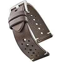 Alpine Hand Made Genuine Vintage Full Grain Leather Watch Strap with Quick Release Spring Bars - Black, Bown, Tan - 20mm, 22mm, 24mm