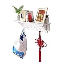YH 家庭用コートラックMDF材5フック多機能壁掛け家庭用ホワイトハンガー80×15×15.5 CM A+