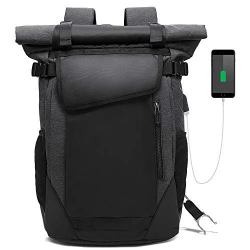 pc リュック メンズ USBポート付き30L大容量15.6インチノートpc バックパック 防水 軽量 ロールトップ リュック 多機能通勤ビジネスリュック Luuhann