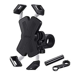 GIMart 自転車 スマホ ホルダー 自転車ハンドルバー延長ブラケット付き 振れ止め 脱落防止 360度回転 オートバイク ホルダー 強力固定 GPSナビ 携帯 自転車/バイク用スタンド スマートフォンホルダー 装着簡単 iPhone/Sony/HUAWEI/Androidなど多機種対応 電動自転車アクセサリホルダー ブラック