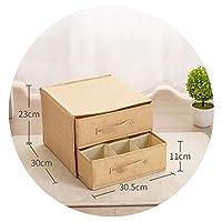 家庭用洗える綿リネンアート引き出し下着収納ボックス女性入れ下着パンティーソックス格子収納ボックス,洗えるベージュ2層2ポンピング