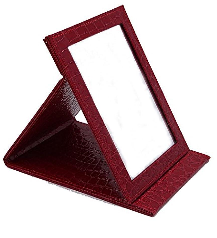 現実的実験室無視HAPPY CY 化粧鏡 折りたたみ式鏡 スタンドミラー 卓上スタンドミラー  携帯 鏡 クロコ柄 プレゼント  上質PUレザー使用(レッド)