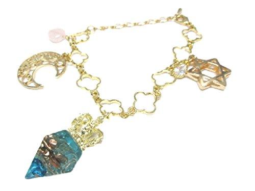 RELIGHT オルゴナイト バックチャーム キーホルダー 天然石 水晶 no-1005(ブルー)