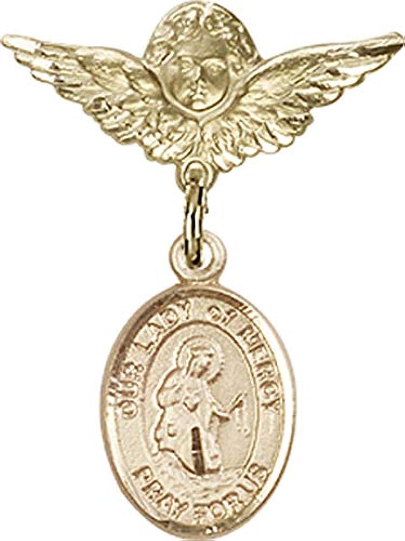 テレックス悪党繁雑14カラットゴールドベビーバッジ マーシーチャームとエンジェル ウィングバッジ付き O/L of Mercy is the Patron Saint of Barcelona Spain 1 X 3/4