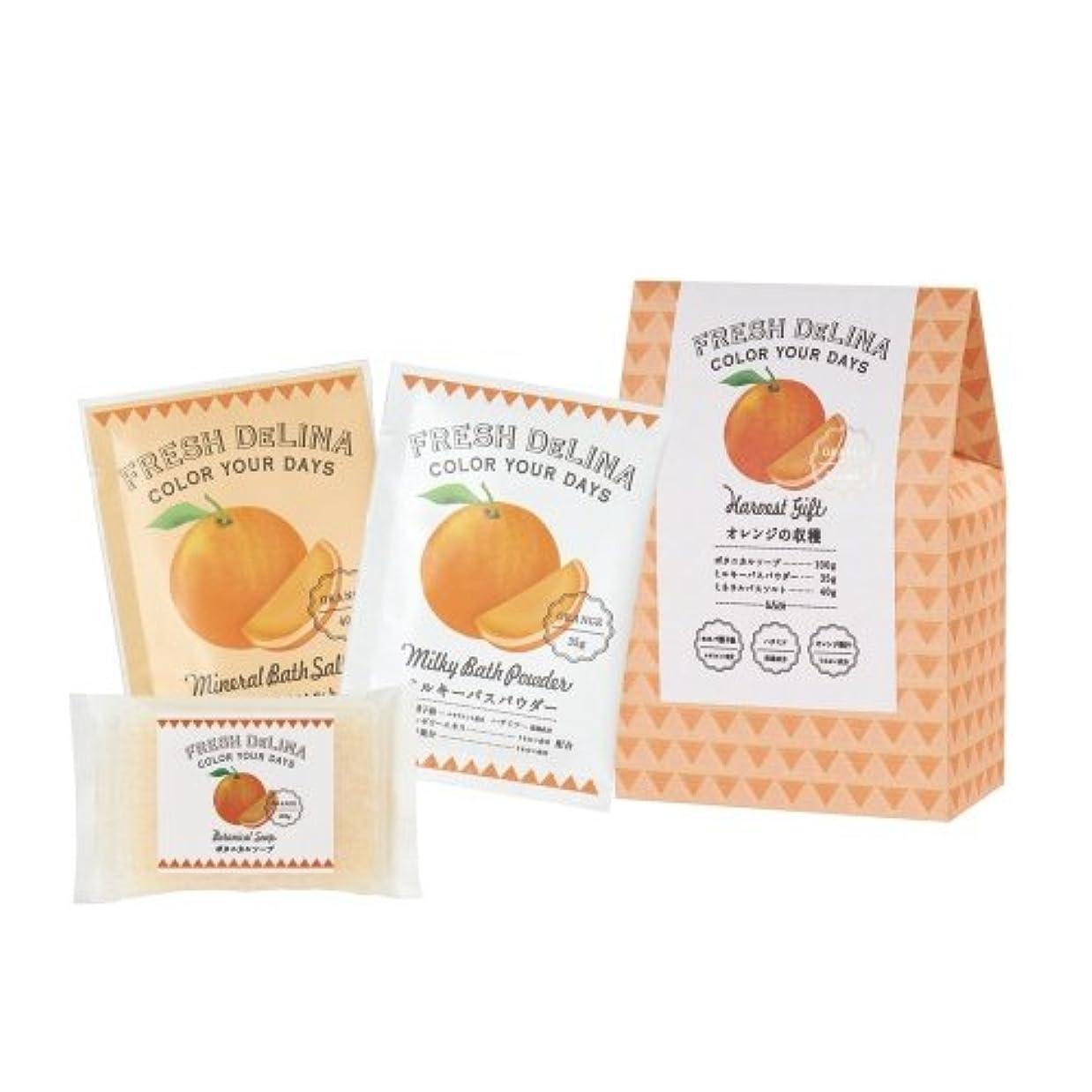 いま虐待予防接種するフレッシュデリーナ ハーベストギフト オレンジ (ミルキバスパウダー35g、ミネラルバスソルト40g、ボタニカルソープ100g 「各1個」)