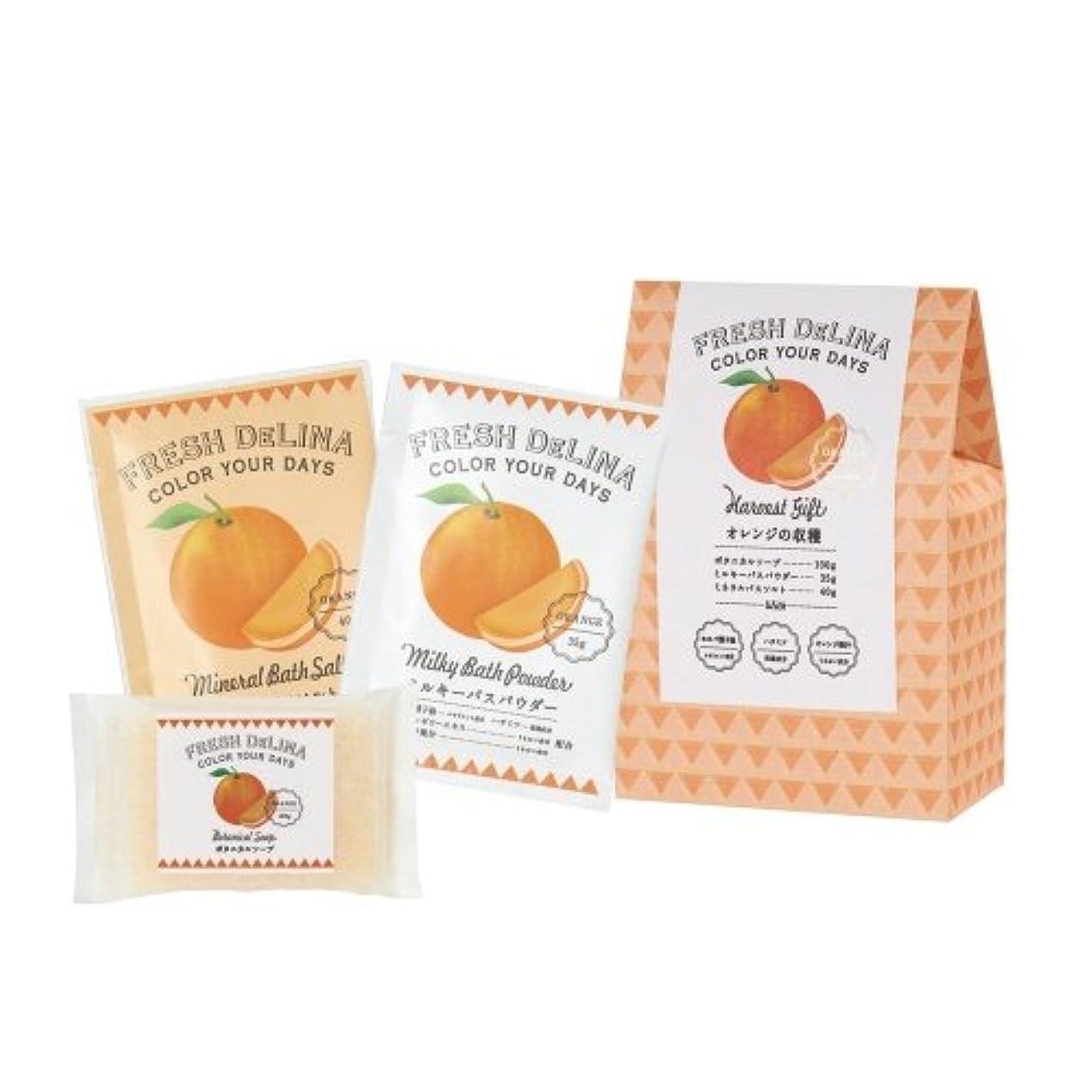 親愛な原油前文フレッシュデリーナ ハーベストギフト オレンジ (ミルキバスパウダー35g、ミネラルバスソルト40g、ボタニカルソープ100g 「各1個」)